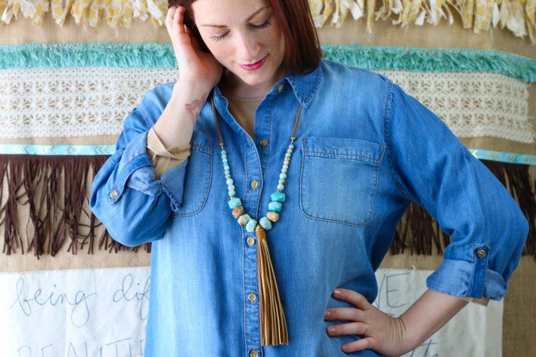 Long Leather Tassel Amazonite Beaded Necklace