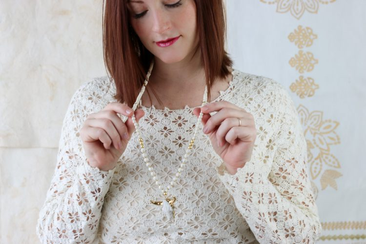 Ivory and Gold Steer Pendant on Ivory Magnesite Beaded Necklace