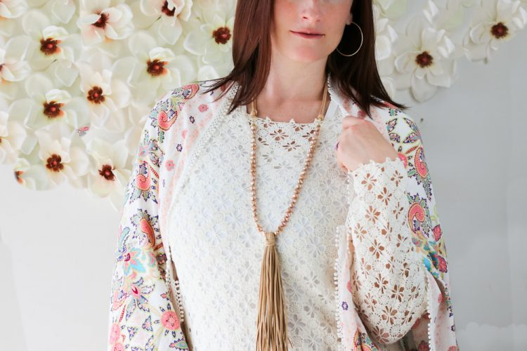 Lovely Champagne Colored Freshwater Pearl Beaded Necklace with Boho Faux Suede Tassel