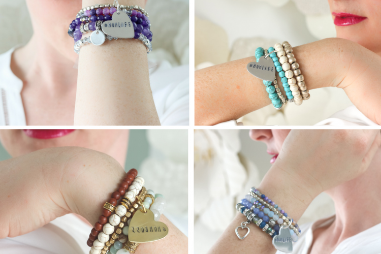 Mother's Day Stacked Beaded Bracelets with Custom Stamped Charm