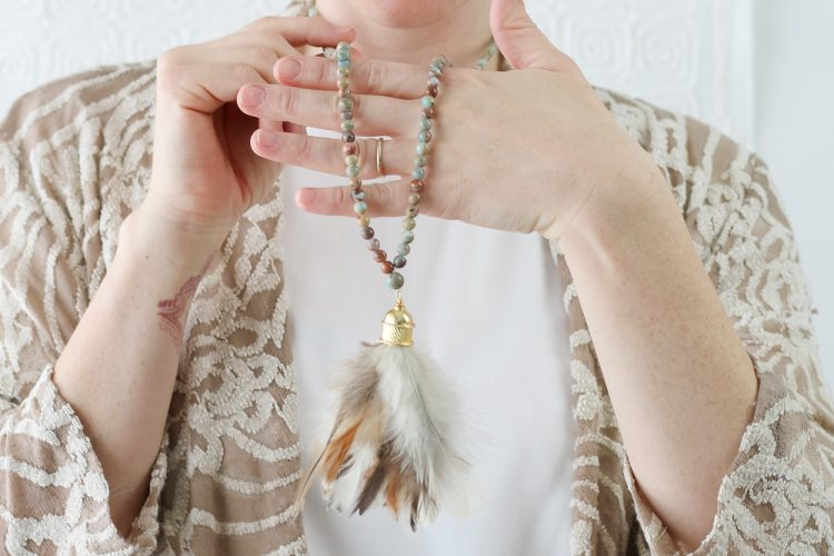 Real Feather Tassel on Natural African Opal Beaded Necklace