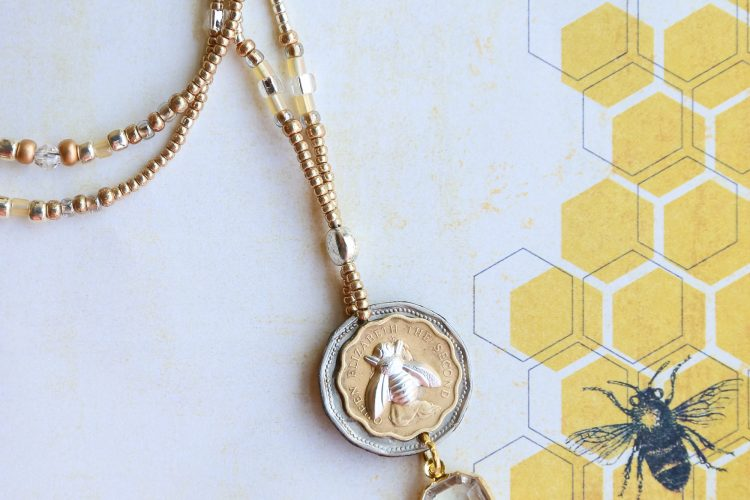 Bee and Vintage Coins on Delicate Seed Beaded Necklace