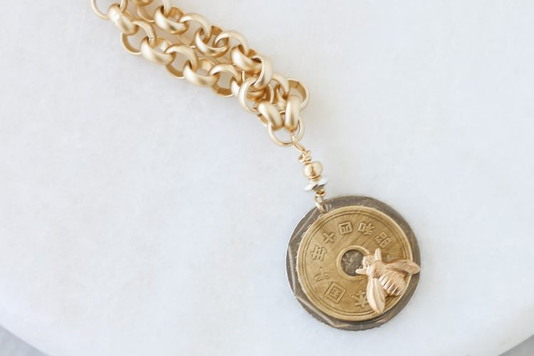 Gold Chunky Vintage Silver Coin with Gold Chinese Coin and Gold Bee Necklace – Coin Necklace – Bee Necklace