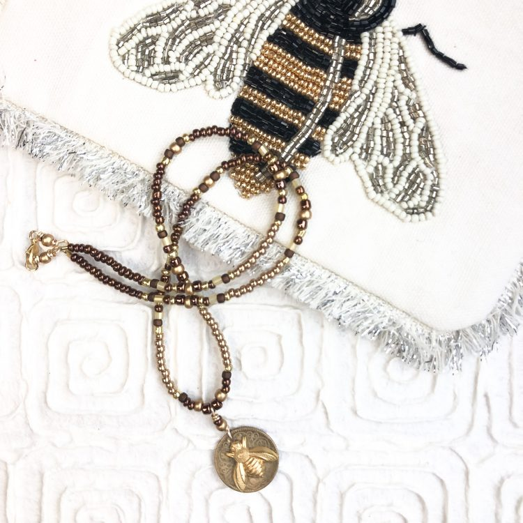 Bee and Coin Brown and Gold Miyuki Seed Beaded Necklace