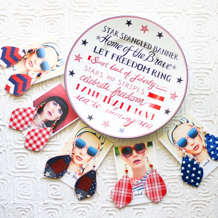 Red White and Blue Patriotic Leather Earrings – 4th of July Statement Earrings