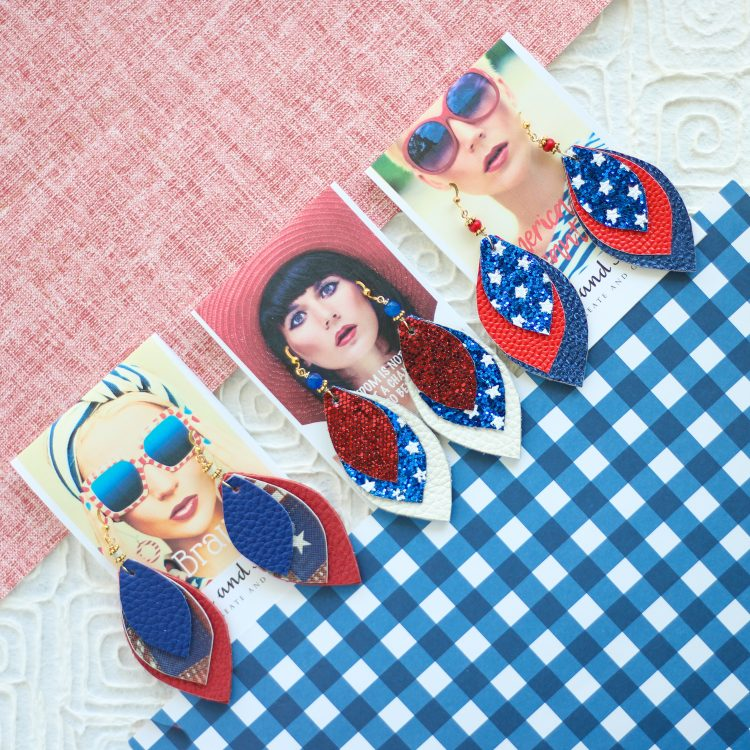Triple Leather 4th of July Earrings –  Red White and Blue Patriotic Earrings