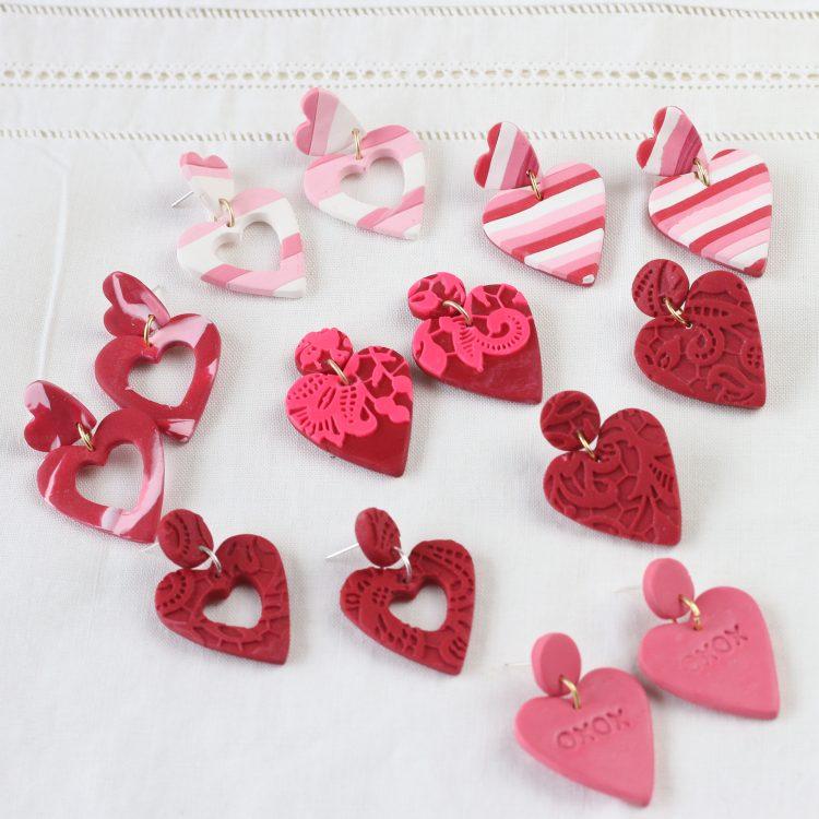 Heart Earrings – Heart Clay Earrings