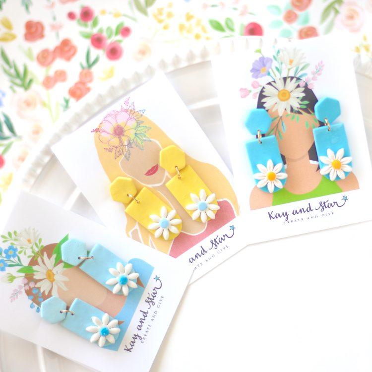Flower Clay Earrings – Daisy Earrings – Summer Earrings